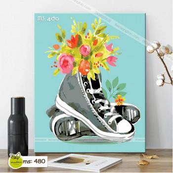 Tranh tô màu theo số đôi giày hoa T480