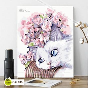 Tranh tô màu mèo đội hoa