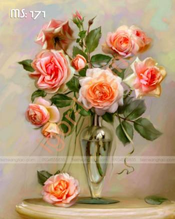 Tranh tô màu Hoa hồng Cắm Lọ thủy Tinh 171