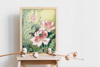 Tranh tô màu Hoa Sen Xanh Lá 187