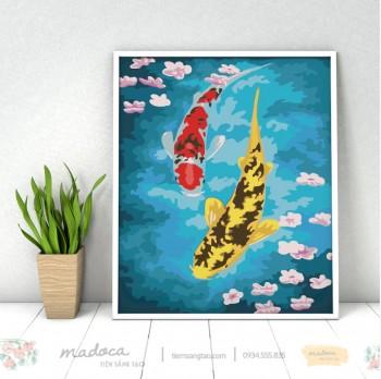 Tranh tô màu cá chép hoa đào 214