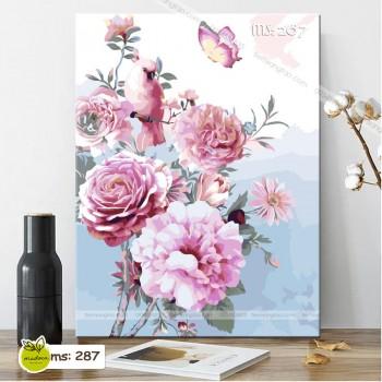 Tranh tô màu hoa hồng phú quý 287