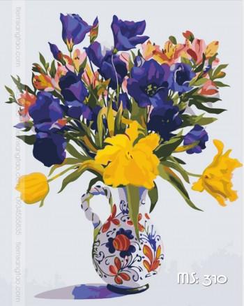 Tranh tô màu hoa tím biếc 310
