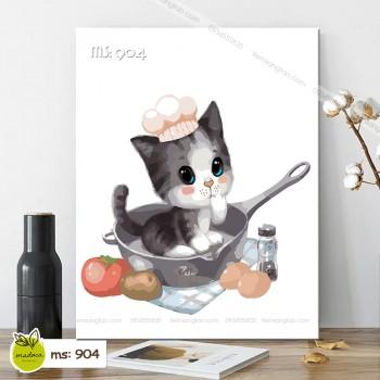 Tranh tô màu mèo nấu ăn T904