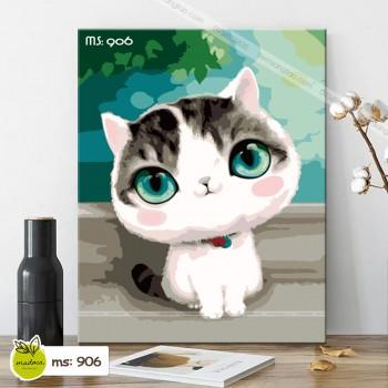 Tranh tô màu mèo mắt biếc 906