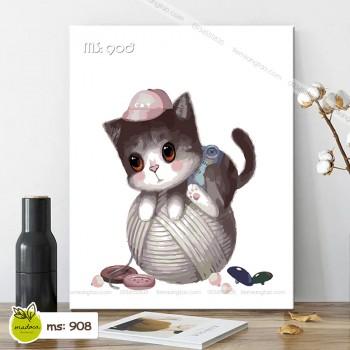 Tranh tô màu mèo nghịch len T908