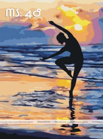 Tranh vẽ yoga ven biển