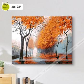 Tranh tô màu đường cây mùa thu 934