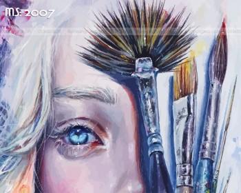 Tranh tô màu theo số khuôn mặt nghệ thuật T2007