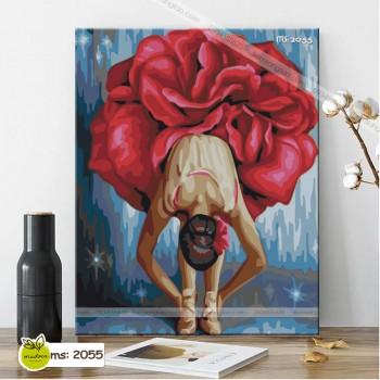 Tranh tô màu điệu múa bông hồng đỏ T2055