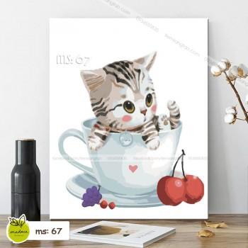 Tranh mèo cherry