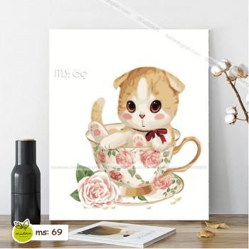 Tranh tô màu mèo hoa hồng T69