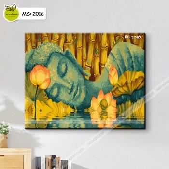 Tranh tô màu theo số Đức Phật bên hồ sen T2016