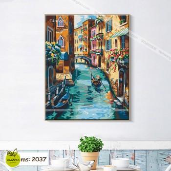 Tranh tô màu theo số thành phố Vencie thơ mộng T2037