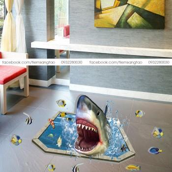 Tranh 3D Cá mập hung dữ
