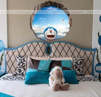 Tranh 3D Doraemon trên bầu trời