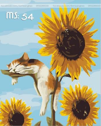 Tranh không khung 50x65 mèo lười L54