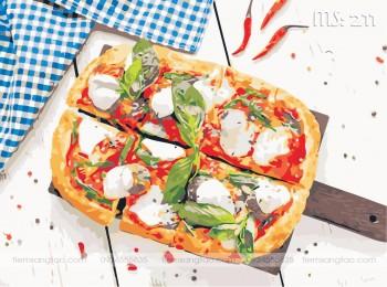 Tranh tô màu bánh pizza MS 211