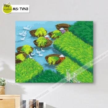 Tranh tô màu theo số Đồng Xanh TVN3