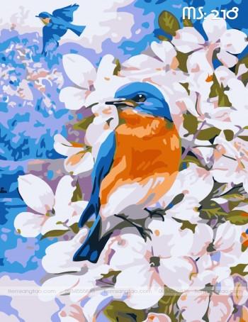 Tranh tô màu chim ca mùa xuân 218