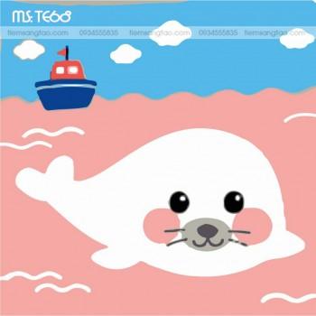 tranh tô màu theo số chú hải cẩu trên biển hồng TE68