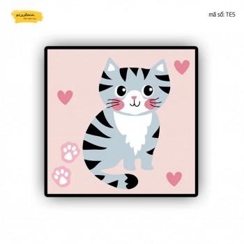 Tranh tô màu Chú mèo dễ thương TE5