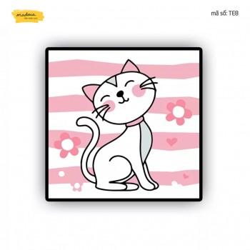 Tranh tô màu Chú mèo màu hồng TE8