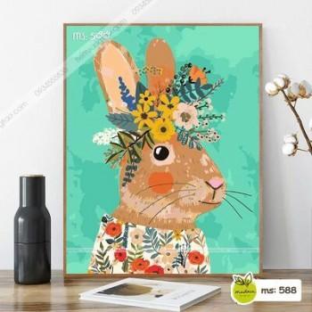 Tranh tô màu Chú Thỏ đội hoa đáng yêu T588
