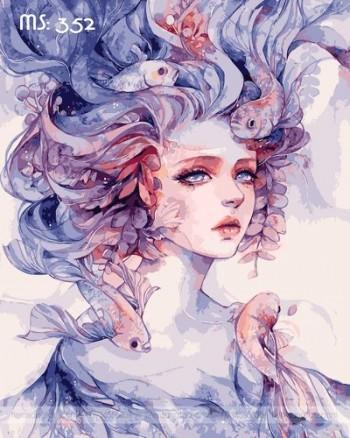 Tranh tô màu cô gái đại dương MS 352