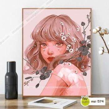 Tranh tô màu Cô Gái tóc ngắn cài hoa T574