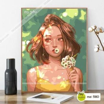 Tranh tô màu Cô Gái tóc ngắn cầm đóa hoa T580