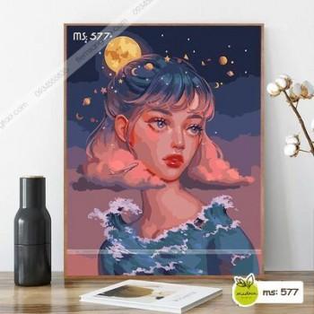 Tranh tô màu Cô Gái tóc ngắn và trời đêm T577