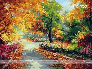 Tranh tô màu con đường lá vàng 197