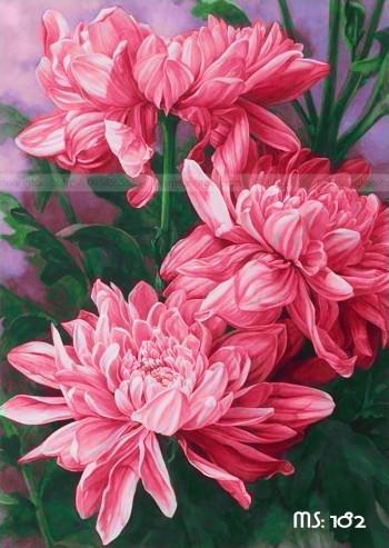 Tranh tô màu hoa cúc ms 182
