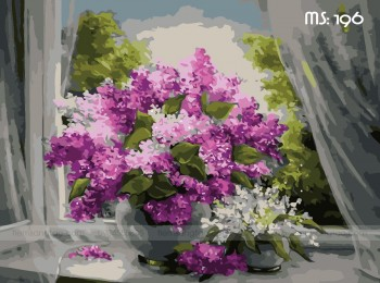 Tranh tô màu hoa tím 196