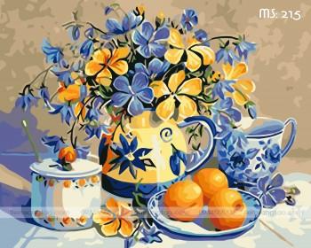 Tranh tô màu hoa vàng sung túc 215