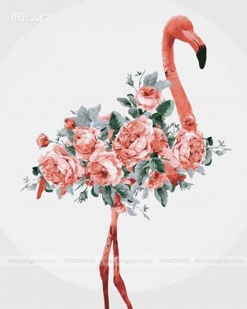 Tranh tô màu hồng hạc mang hoa 247