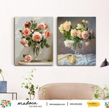 Tranh tô màu kết hợp hoa hồng cam 171 và hoa hồng vàng nhạt 168