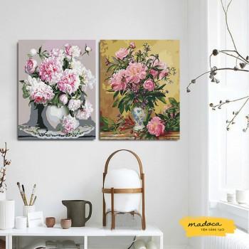 Tranh tô màu kết hợp mẫu đơn 11 và hoa cổ hồng nhạt 170