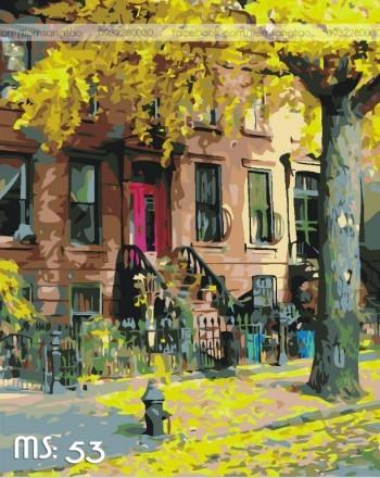 Tranh tô màu 50x65 góc phố mùa thu