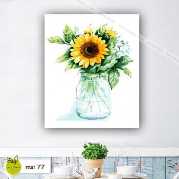 Tranh tô màu 50x65 hoa hướng dương lọ thủy tinh
