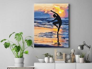 Tranh tô màu 50x65 yoga ven biển