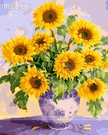 Tranh tô màu lọ hoa hướng dương 255