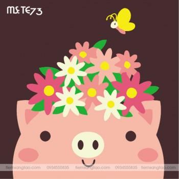 tranh tô màu theo số lợn hồng đội vòng hoa TE73