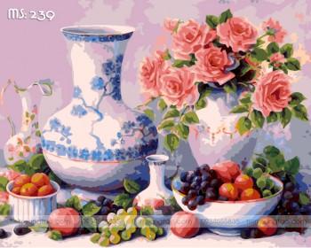 Tranh tô màu lục bình bên hoa hồng 239