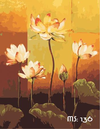 Tranh tô màu Hoa Sen Đua Nở 136