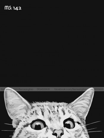 Tranh tô màu Mèo con ngó mặt