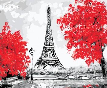 Tranh tô màu Eiffel Đỏ Rực 160