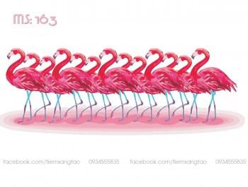 Tranh tô màu Bầy Hồng Hạc 163