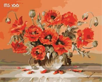 Tranh tô màu Hoa Nở Đỏ Thắm 166